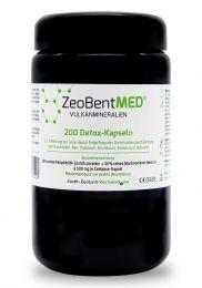 ZeoBent MED® 200 detox capsules in violet glass