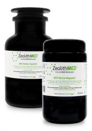 ZeoliteMED® 800 capsules in violet glass-savings stack, Medical devices